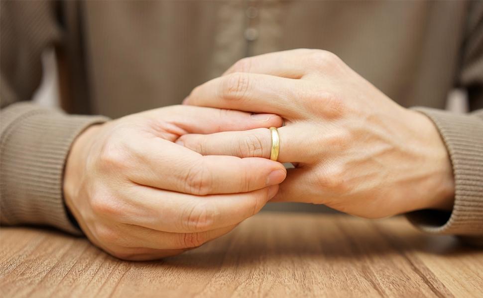 14K Wedding Band on Male hand Ring Finger
