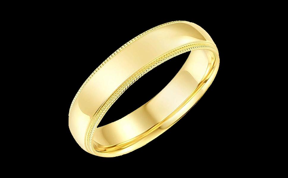 14K Yellow Gold Milgrain Wedding Band