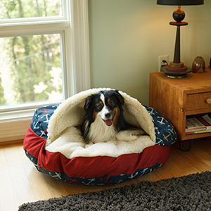 Cozy Cave, Burrow Pet Cave, Nestling Dog Bed, Hooded Pet Bed, Sherpa, Microsuede