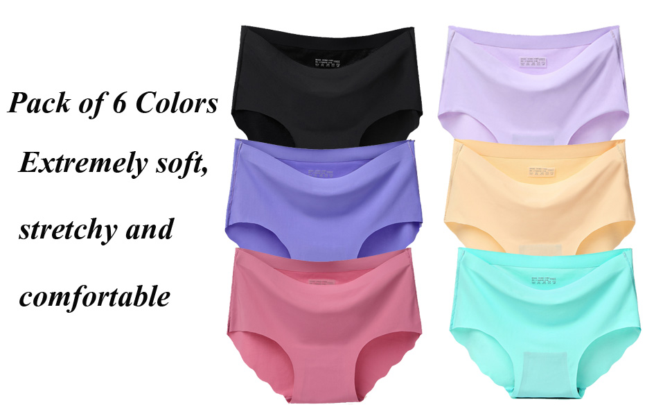 2312f147c4 Buankoxy 6 Pack Women s Invisible Seamless Mid-Rise Panties No Show ...