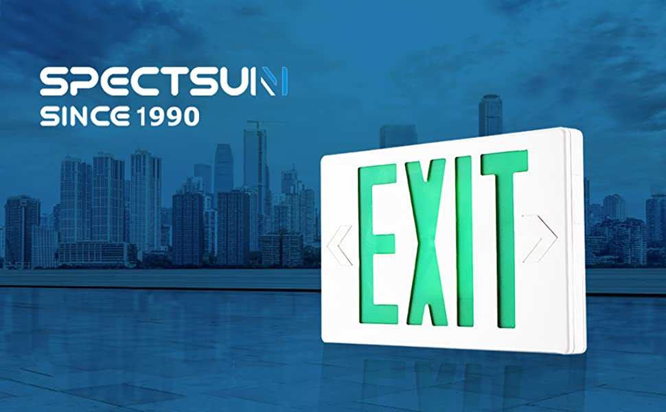 SPECTSUN Led Exit Sign with Battery Backup, Hardwired Green Exit Light LED  - 6 Pack, Exit Sign Battery/Business Exit Sign Stencil/Exit Combo