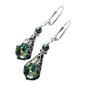 Sahara Green Vintage Inspired Baroque Crystal Dangle Drop Leverback Earrings