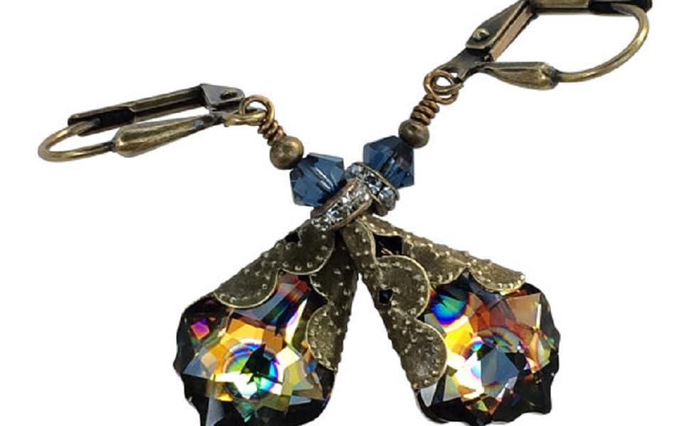 Peacock Crystal Earrings for Women