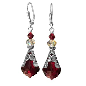 Blush Red Vintage Inspired Baroque Crystal Dangle Leverback Drop Earrings Jewelry for Women