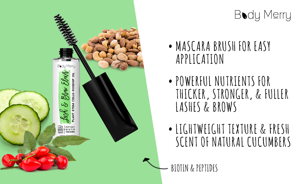 dc2e1eb31e0 Body Merry Lash & Brow Elixir - Eyelash and Brow Serum with Biotin and  Plant Stem Cells for Fuller Lashes and Brows