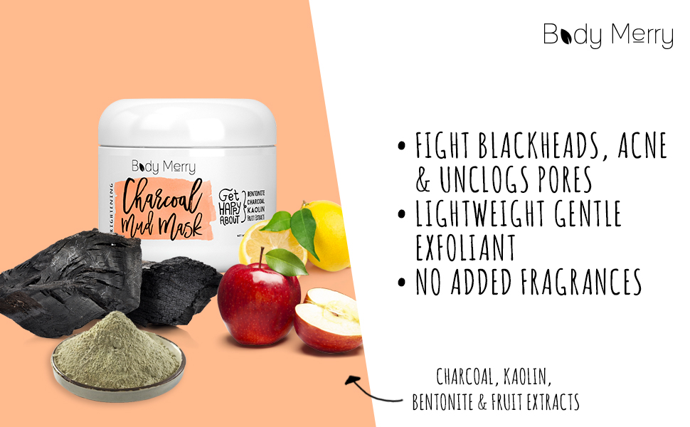 Body Merry Brightening Charcoal Mud Mask (Single Pack) Brightening Charcoal Mud Mask Neova Squalane Facial Creme, 1.0 Fluid Ounce