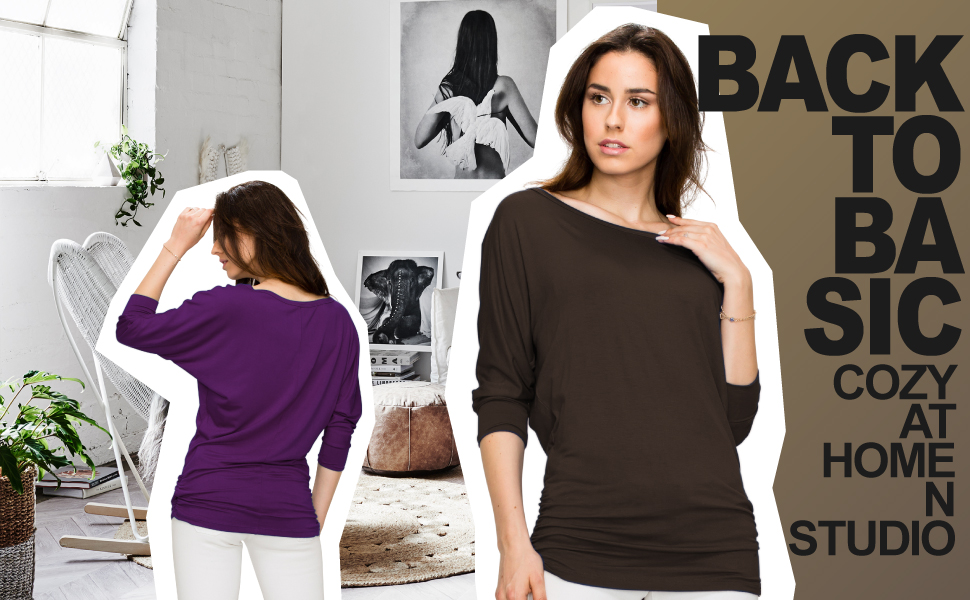 47e6a2c3b494 Made By Johnny Women s 3 4 Sleeve Crew V Neck Drape Dolman Top with ...
