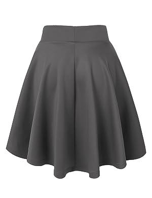 MBJ Womens Basic Versatile Stretchy Flared Skater Skirt - Made in ...