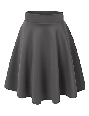 MBJ Womens Basic Versatile Stretchy Flared Skater Skirt - Made in ...