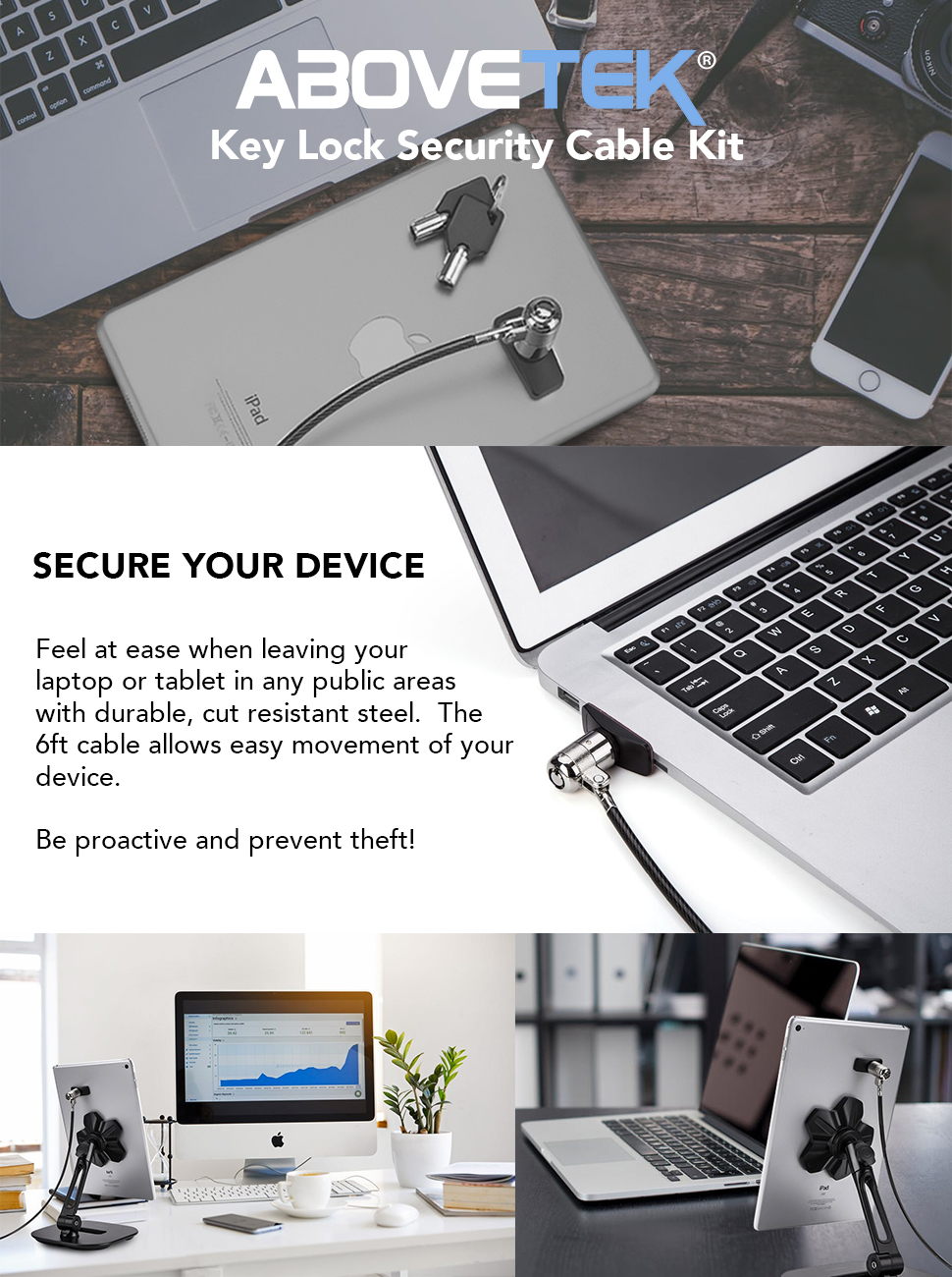 Pro Laptop Hardware Security Safety Cable Lock Anti Theft Lock for iPad Laptop