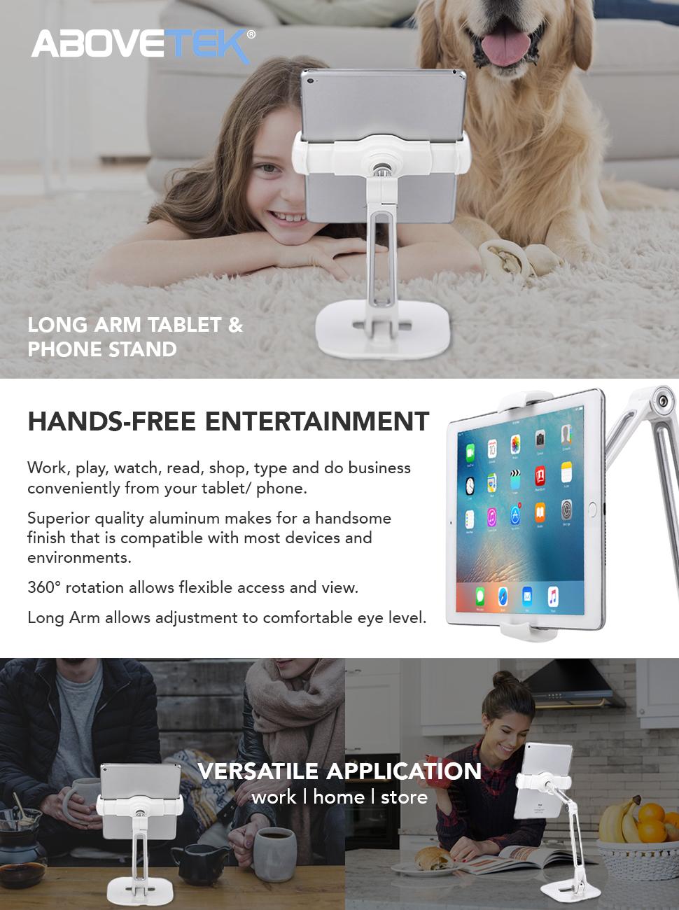 Amazon.com: AboveTEK Long Arm Aluminum Tablet Stand, Folding iPad ...
