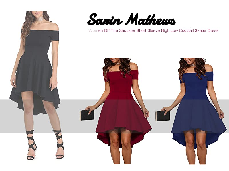 Sarin Mathews Women Off The Shoulder Short Sleeve High Low Cocktail ...
