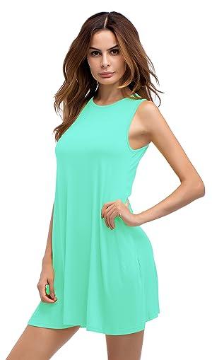 Sarin Mathews Women\'s Sleeveless Pockets Swing Summer Beach Tank T ...