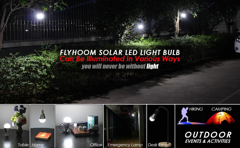 FLYHOOM PORTABLE OUTDOOR LED SOLAR LIGHTS BULB