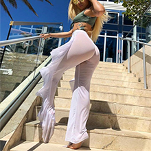 Ruffle pants bikini cover ups