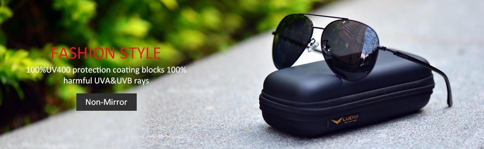 black aviator polarized non mirrored sunglasses light weight