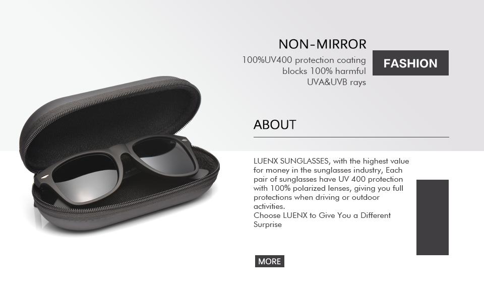 9aae8b0a4d3 Amazon.com  LUENX Mens Polarized Sunglasses for Womens UV 400 ...