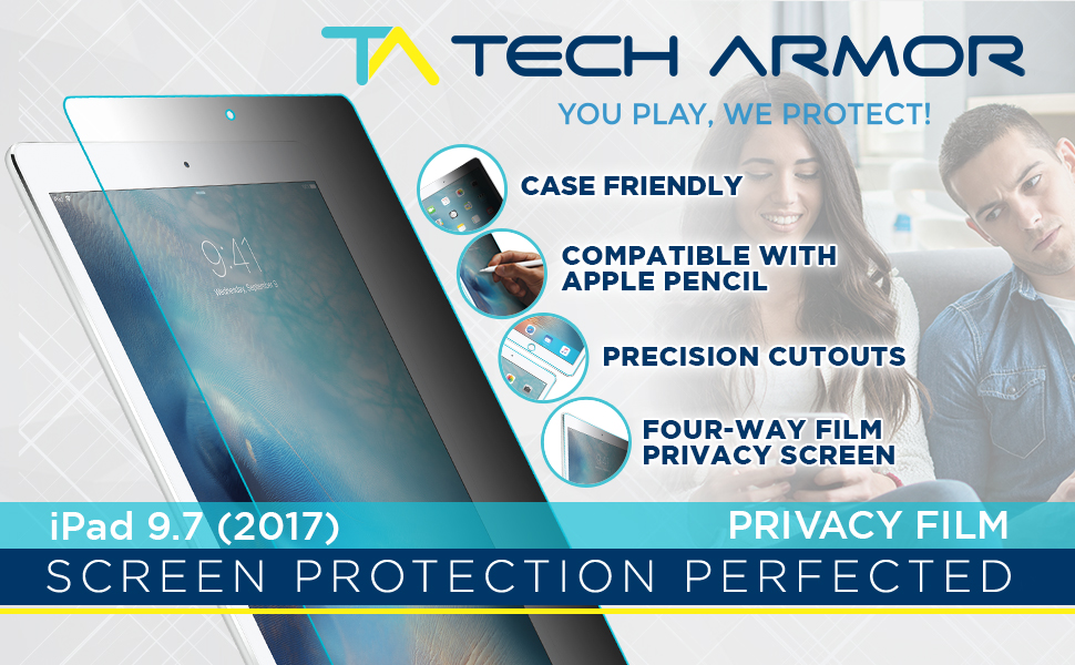 ipad 9.7 air air 2 privacy film screen protector pet black scratch resistant case friendly 4way