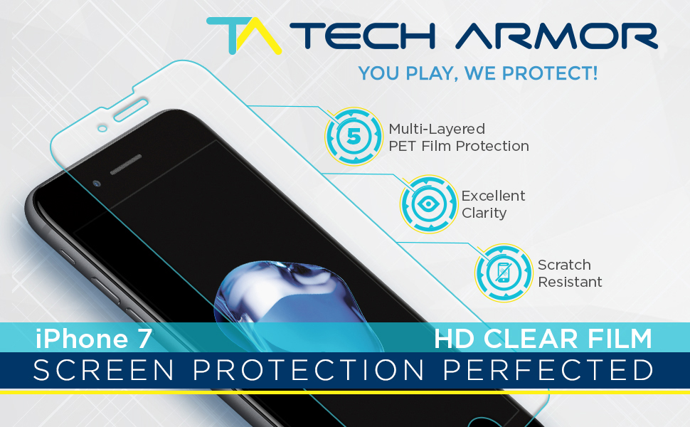 HD Clear High Definition Clarity PET film plastic apple iphone 7
