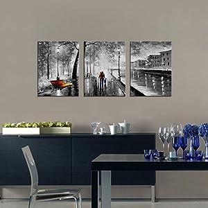 Modern Figure Themed Artwork Cityscape Frame Painting For Living Room  Deceration Gift Idea