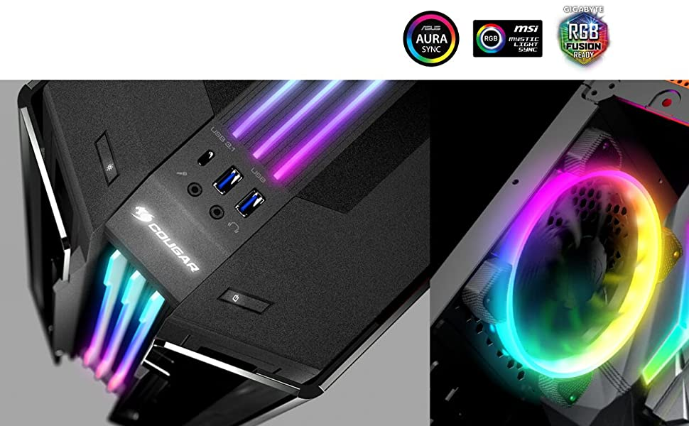 Cougar Gemini T RGB Glass-Wing Mid Tower Gaming Case with Trelux Dynamic  Lighting Cases, Vertical GPU Support, Aura sync, MSI mistic light sync, RGB