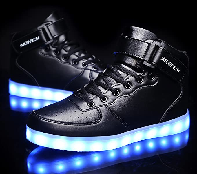 MOHEM ShinyNight High Top LED Shoes Light Up USB Charging Flashing Sneakers 55d4274a4