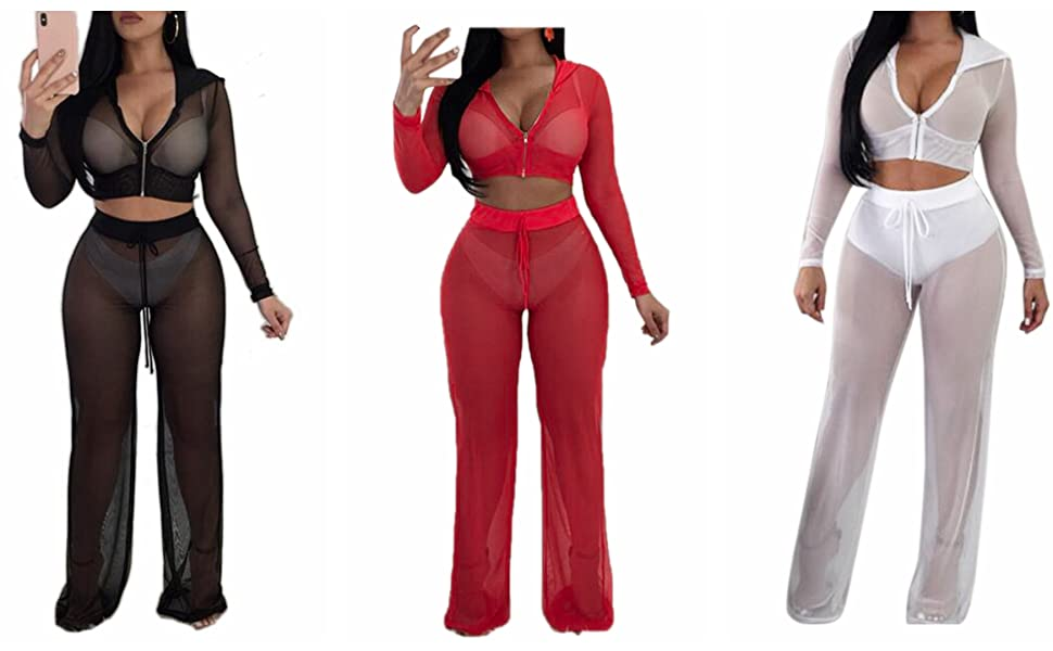 70c5f97a8ed4e Yizenge Women's Beach Bikini Swimsuit Cover up Mesh Hoodies Crop Top Long  Pant Two Pieces Outfits Jumpsuit