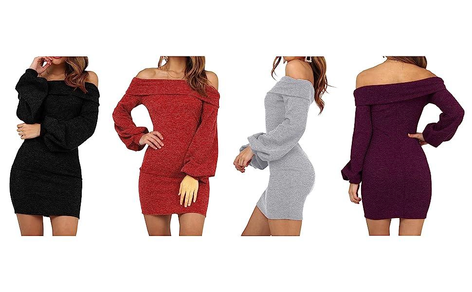 54ef0d9f92ce Yizenge Women s Long Puff Sleeve Off Shoulder Bodycon Knit Sweater Dress