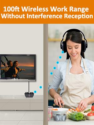100ft wireless tv headphone