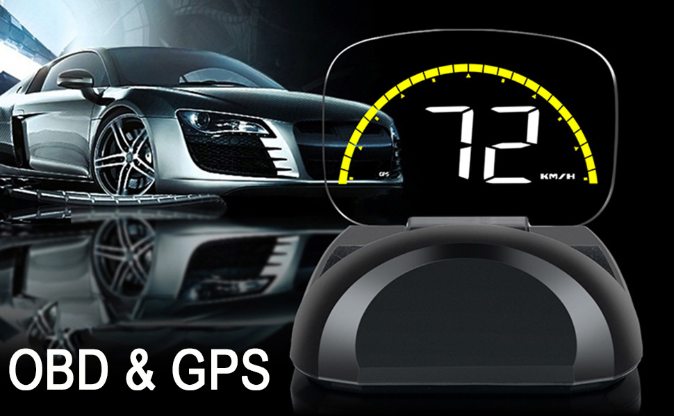 VJOYCAR OBD2 & GPS Speedometer, OBDII & GPS System Head Up Display, Cars  Speed Universal HUD MPH/KMH Over Speed Alarm Diagnostic Water Temperature