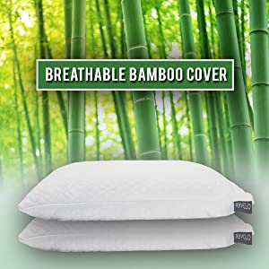 Shredded Memory Foam Pillows for Sleeping Bamboo Cooling Firm Cool Bed Pillow for Side Stomach