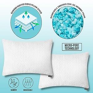 Shredded Memory Foam Pillows For Sleeping Bamboo Cooling 2