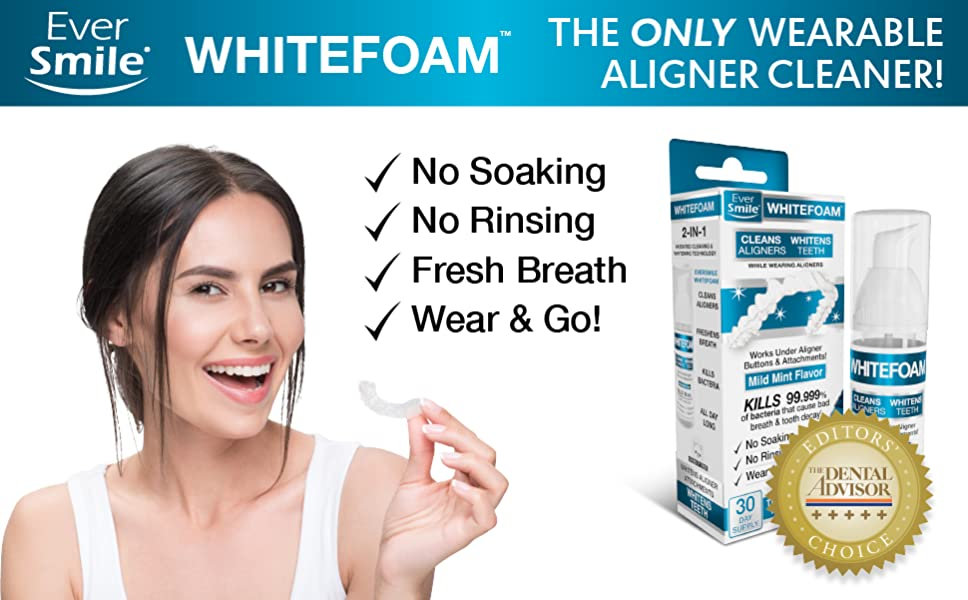 WhiteFoam On-the-Go Clear Retainer Cleaner for Invisalign, Dentures,  ClearCorrect, Essix, Vivera &