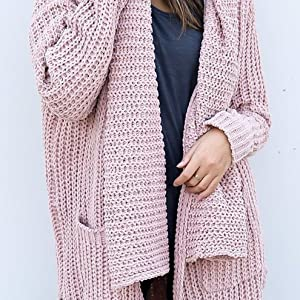 d69beb9dc52c Womens Ladies Sweaters Open Front Long Sleeve Casual Loose Chunky Knit  Cardigans Outwears Pockets Pink