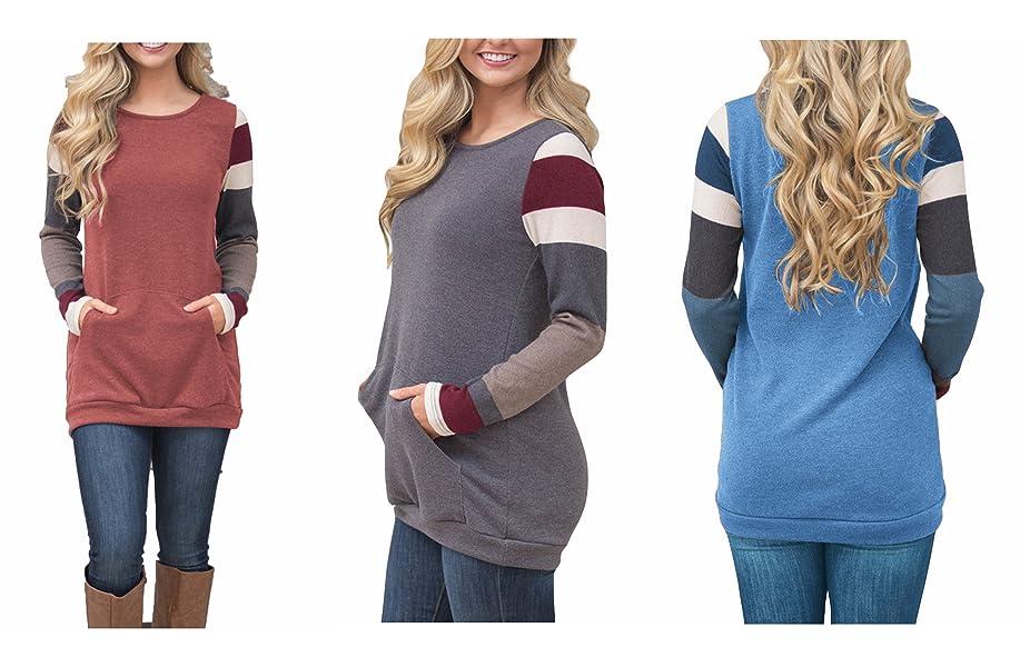 1e4105c7ae2ef BLENCOT Women's Color Block Long Sleeve Tunic Sweatshirt Tops With Kangaroo  Pocket