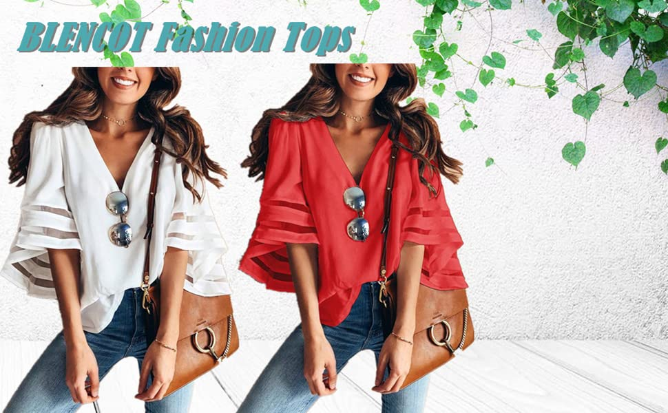 09b748c166ae1f Womens 3 4 Bell Sleeve V Neck Lace Patchwork Blouse Casual Loose Shirt Tops