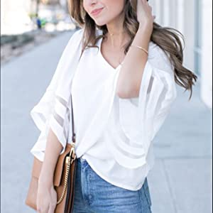 f698d2982ea64 Womens Fashion 2018 Chiffon Blouse Shirt 3 4 Bell Sleeve Deep V Neck Sheer  Patchwork Summer Casual Loose Fit Tops