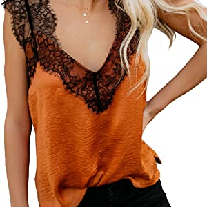 BLENCOT Women s Summer Sleeveless Shirts V Neck Lace Strappy Trim Camisole Tank  Tops Loose Blouse Orange
