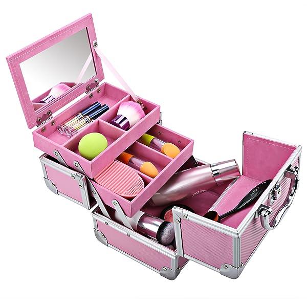 homdox mini makeup train case aluminum cosmetic box with mirror 2 keys jewelry box. Black Bedroom Furniture Sets. Home Design Ideas