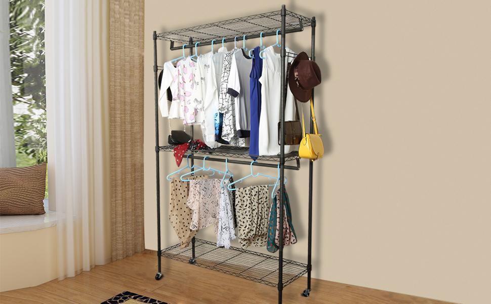 Amazon.com: Homdox 3 Shelves Wire Shelving Clothing Rolling Rack ...