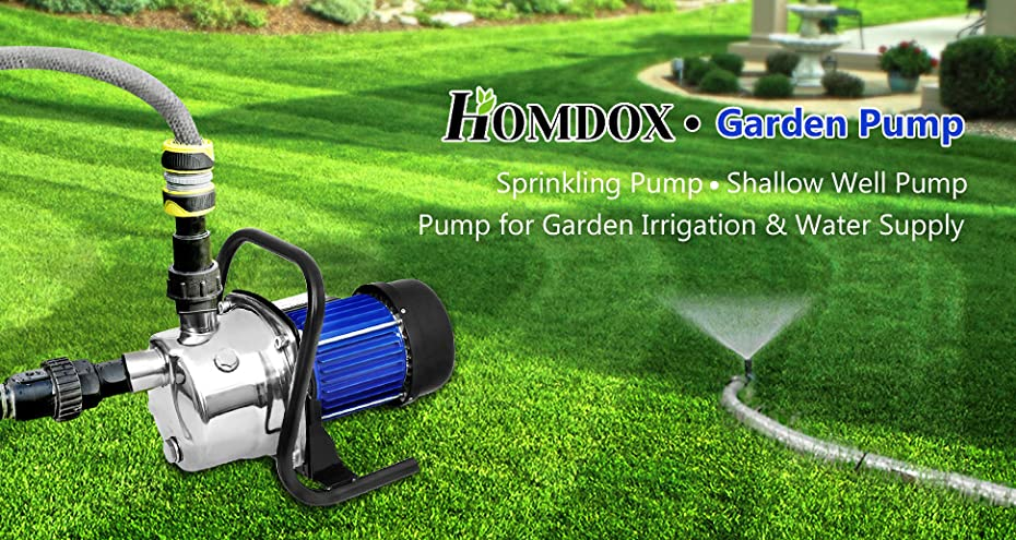 Homdox 1.6 HP Durable Stainless Steel, Portable Booster Pump Garden Pump Is  Designed For The Supply Of Fresh Water To Rural Homes, Farms, And  Cabins,etc.