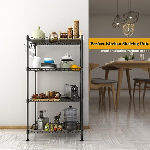 4 Shelf Unit Kitchen Wire Shelving Rack, Black