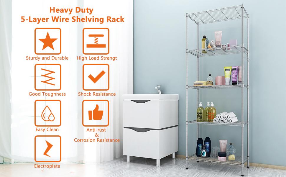 Amazon.com: Homdox 5 Tier Heavy Duty Wire Rack Shelving Unit Kitchen ...