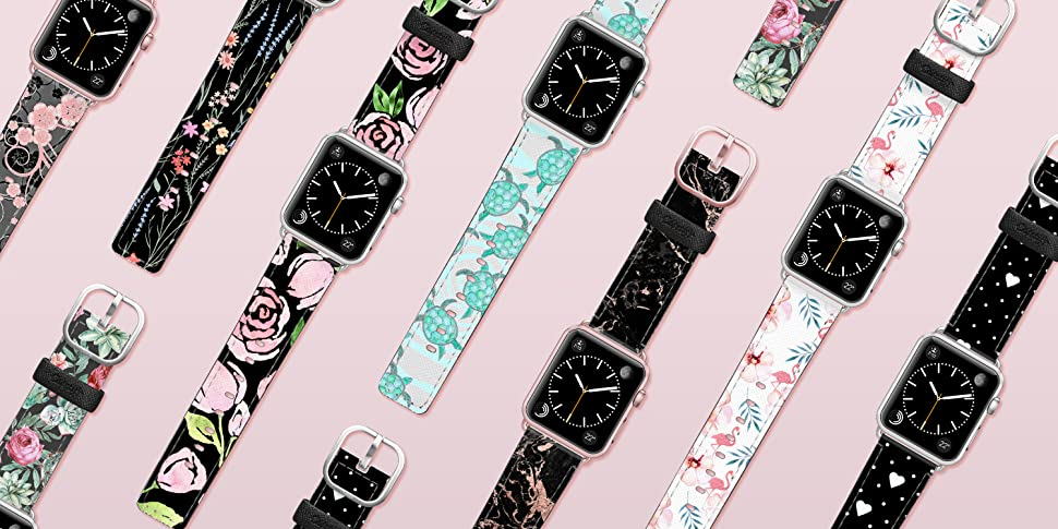 Amazon Com Casetify Floral Flower Bands For Apple Watch Bands 38mm 42mm With Rose Gold Stainless Steel Buckle Replacement Band For Iwatch Apple Watch Series 4 Series 3 Series 2 Series 1 Floral
