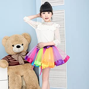 Bonus 10pcs Hair Ties ifergoo Rainbow Tutu Skirt Layered Ballet Tullet Dance Dress for Toddler Baby Girls Dress Up