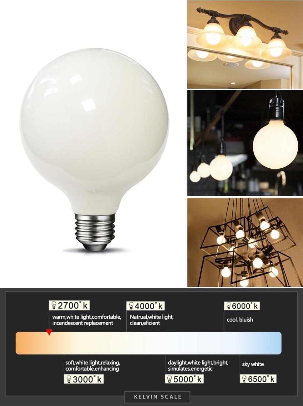 MRDENG LED Light Bulbs 60 Watt Replacement, G40 6W LED Bulb, E26 Socket,Soft  White Globe Light Bulb