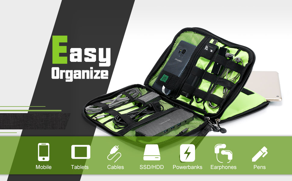 Portable   Travel Electronic Organizer for Cables banner easy