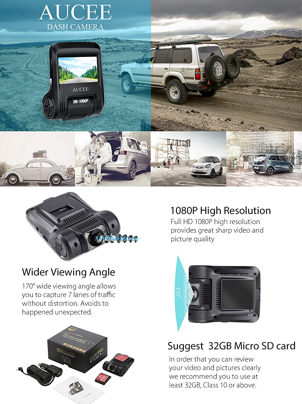 Aucee roader dash cam provides effective and reliable monitoring on all your car journeys with 1080p high resolution and 170 wide angle view