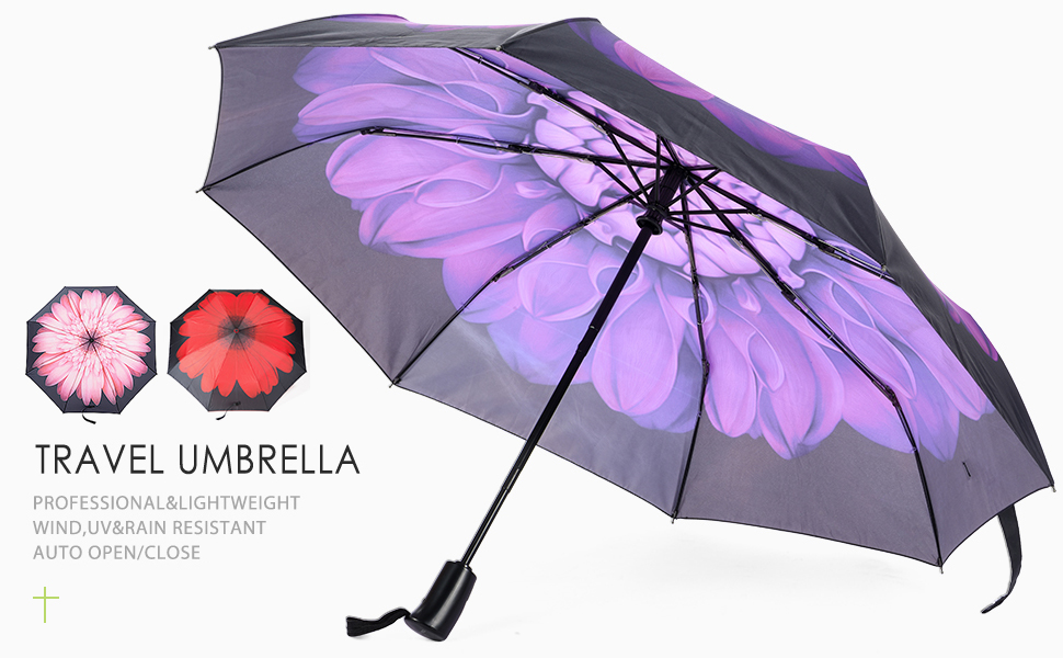 Lilac Flower Compact Travel Umbrella Windproof Reinforced Canopy Ergonomic Handle Auto Open//Close Multiple Colors