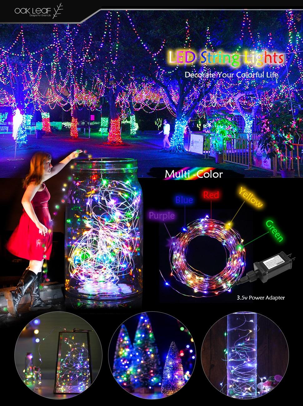 Amazon Com Oak Leaf String Lights 39 2ft 120 Leds Multi